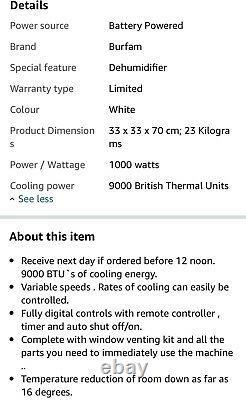 Burfam Portable Air Cooler Unit Fan Humidifier Timer 3 Settings AC W Remote